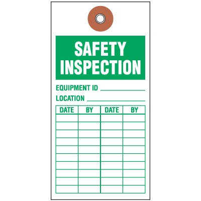 Safety Inspection Tyvek Tag