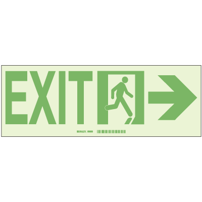 Brady® Hi-Intensity Photoluminescent Signs - Exit with Right Arrow