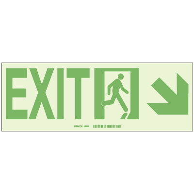 Exit with Right Lower Arrow - Hi-Intensity Photoluminscent Signs (10Pk)