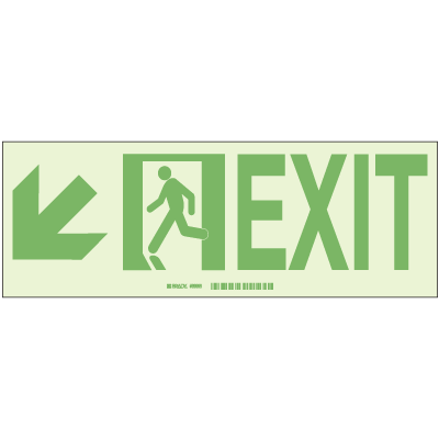 Exit with Left Lower Arrow - Hi-Intensity Photoluminscent Signs (10Pk)