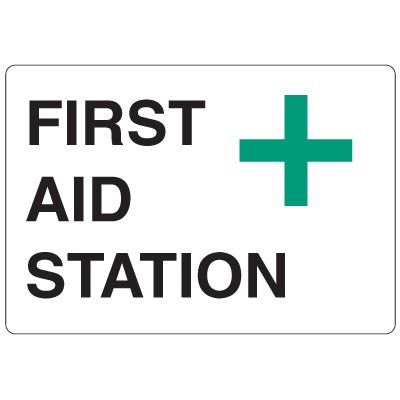 High Visibility Overhead Signs - First Aid Station