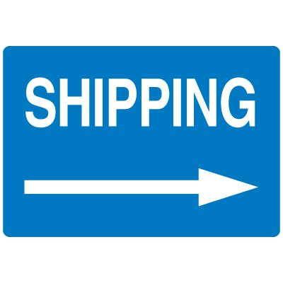 High Visibility Overhead Signs - Shipping (w/ Right Arrow Graphic)