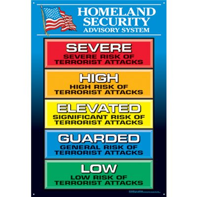 Homeland Security Advisory System Wall Chart, Color Alert System