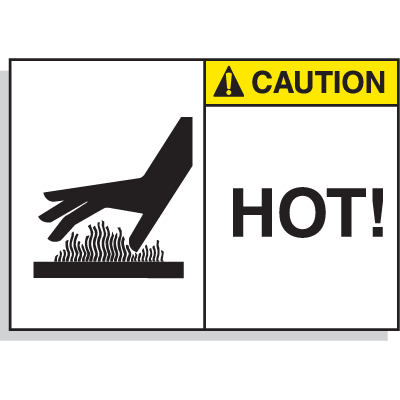 Hot Surface Equipment Warning Labels - Caution Hot
