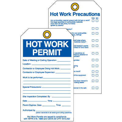 Permit Tags - Hot Work Permit