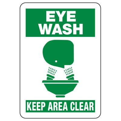 Eye Wash Keep Area Clear Safety Signs