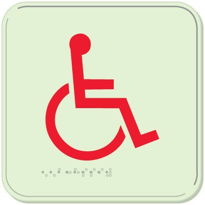 Wheelchair Symbol Signs - Braille Glow-In-The-Dark Signs
