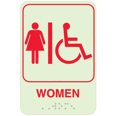 Womens Restroom Signs - Braille Glow-In-The-Dark SIgns