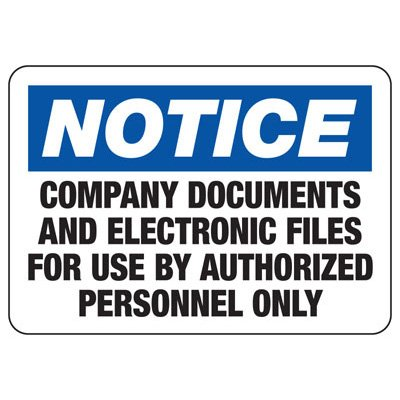 Documents For Authorized Personnel - Computer Security Signs