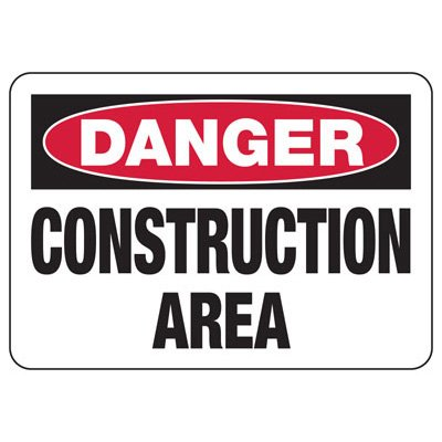 OSHA Danger Signs - Bilingual - Construction Area