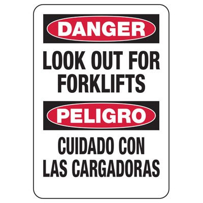 Bilingual Safety Signs - Danger/Peligro - Look Out For Forklifts