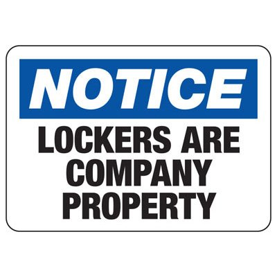 Lockers Are Company Property - Locker & Key Control Signs