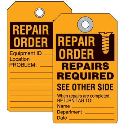 Repair Order Inspection Tag