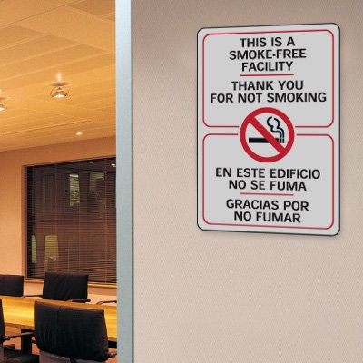 This is A Smoke-Free Facility - 7W x 10H Bilingual Interior Sign