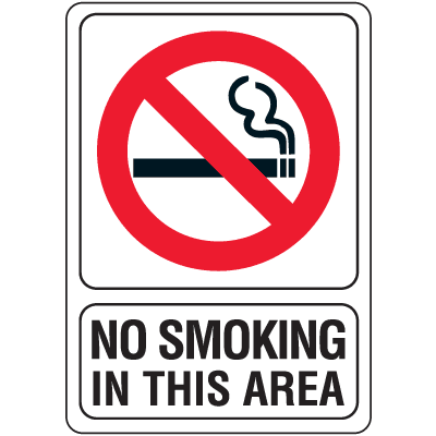 "No Smoking in This Area - 5""W x 7""H"