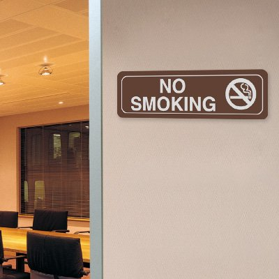 No Smoking w/Graphic - 10W x 3H Decor Signs