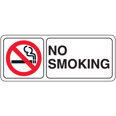 "No Smoking w/Graphic - 10""W x 4""H Decor Signs"