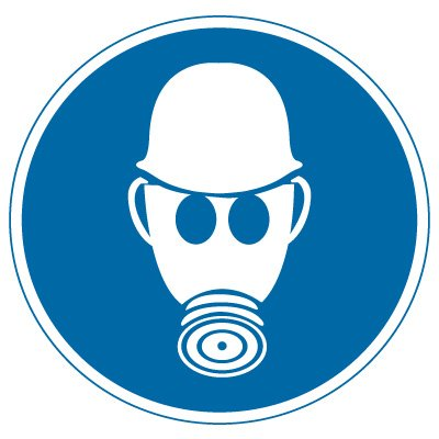 International Symbols Labels - Wear Respiratory & Head Protection (Graphic)
