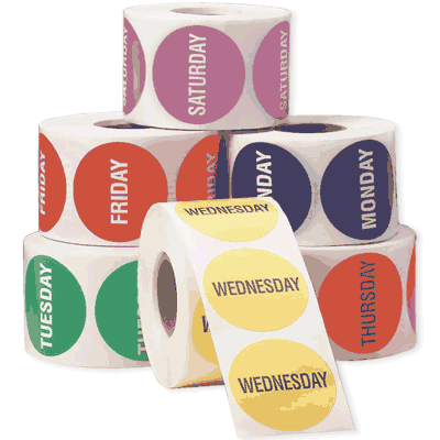 Days of the Week Inventory Label Sets