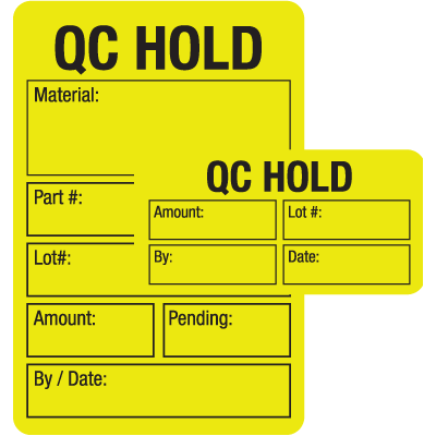 QC Hold ISO 9000 Labels