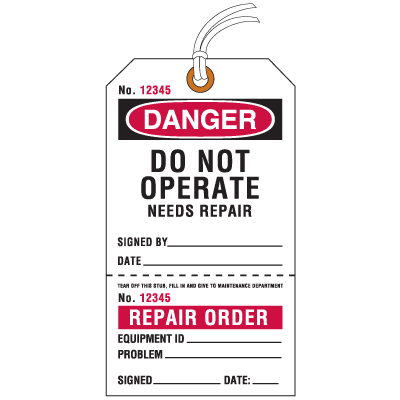 Jumbo Cardstock Tear-Off Safety Tags - Danger Do Not Operate