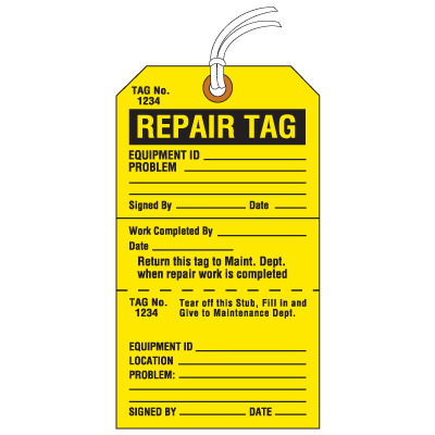 Jumbo Cardstock Tear-Off Safety Tags - Repair