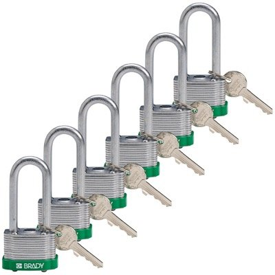 Brady Key Retaining Keyed Different 2 inch Shackle Steel Locks - Green - Part Number - 118943 - 6/Pack