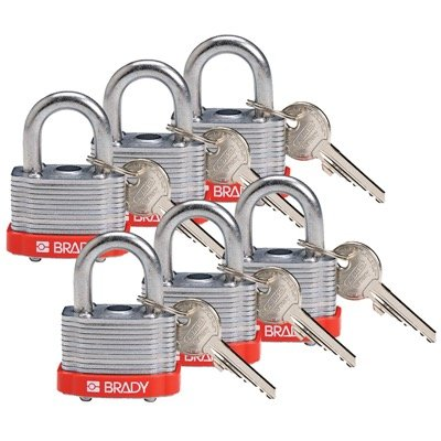 Brady Key Retaining Keyed Different Three Quarter inch Shackle Steel Locks - Red - Part Number - 118935 - 6/Pack