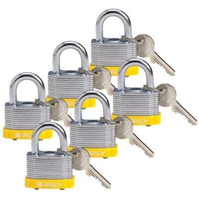 Brady Key Retaining Keyed Different Three Quarter inch Shackle Steel Locks - Yellow - Part Number - 118938 - 6/Pack