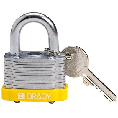 Brady Key Retaining Keyed Different Three Quarter inch Shackle Steel Locks - Yellow - Part Number - 143132 - 1/Each