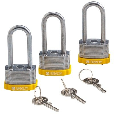 Brady Key Retaining Keyed Alike 2 inch Shackle Steel Locks - Yellow - Part Number - 118981 - 3/Pack