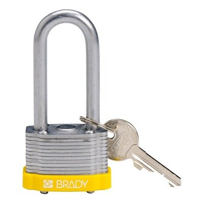 Brady Key Retaining Keyed Different 2 inch Shackle Steel Locks - Yellow - Part Number - 143148 - 1/Each