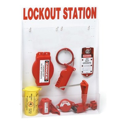 Brady Small Lockout Station Containing 9 Mechanical and 1 Electrical Isolation Lockout Devices