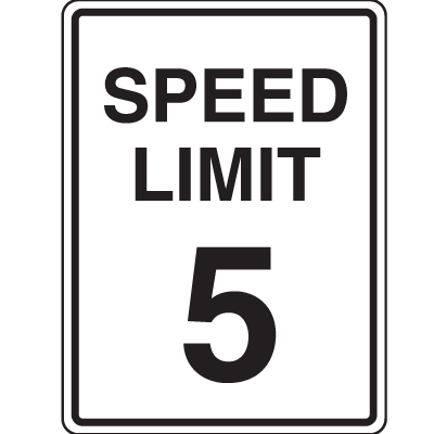 Lightweight Parking Signs - Speed Limit 5