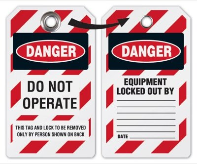 Danger Do Not Operate Lockout Tag