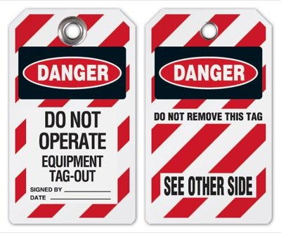Do Not Operate Equipment Tag-Out Tag