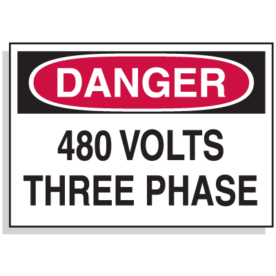 Lockout Hazard Warning Labels- Danger 480 Volts Three Phase