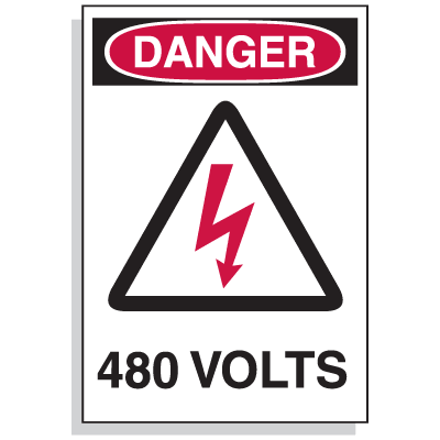 Lockout Hazard Warning Labels- Danger 480 Volts w/ Graphic