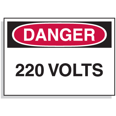 Lockout Hazard Warning Labels- Danger 220 Volts