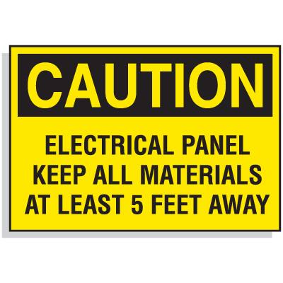 Lockout Hazard Warning Labels- Electrical Panel Keep All Materials At Least 5 Feet Away
