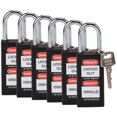 "Brady® Long Body Keyed Different 1.5"" Safety Padlocks"