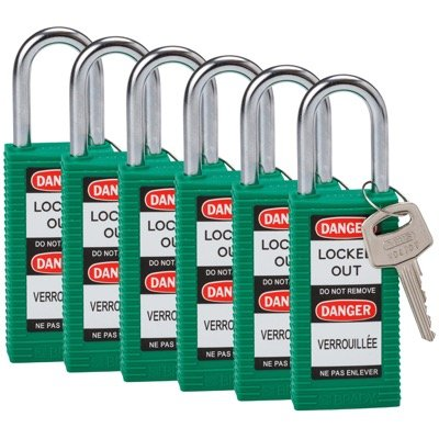 Brady Long Body Keyed Different One and Half inch Shackle Safety Locks - Green - Part Number - 123398 - 6/Pack