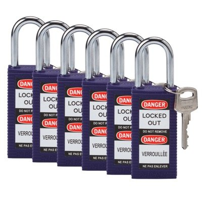 Brady Long Body Keyed Alike One and Half inch Shackle Safety Locks - Purple - Part Number - 123430 - 6/Pack