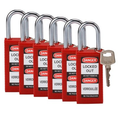 Brady Long Body Keyed Alike One and Half inch Shackle Safety Locks - Red - Part Number - 123423 - 6/Pack