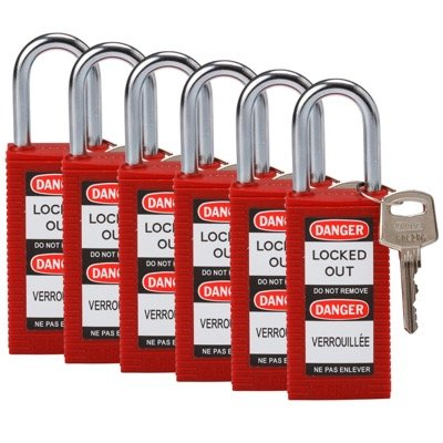 Brady Long Body Keyed Different One and Half inch Shackle Safety Locks - Red - Part Number - 123396 - 6/Pack