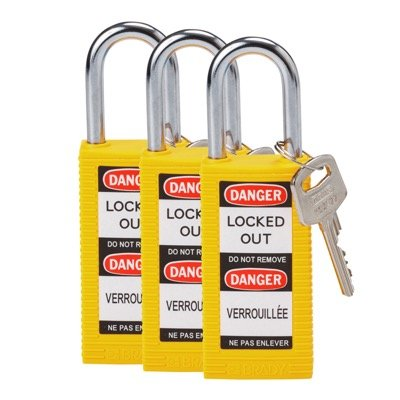Brady Long Body Keyed Alike One and Half inch Shackle Safety Locks - Yellow - Part Number - 123417 - 3/Pack