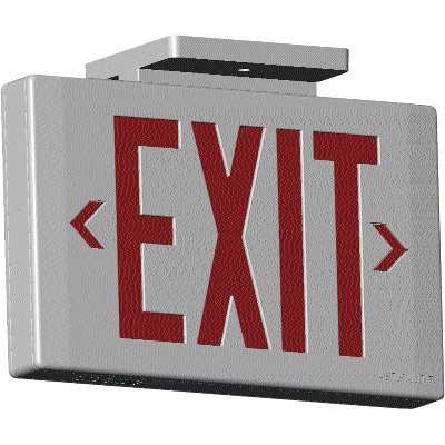 Premium Low Profile LED Exit Signs with Dual Pointing Arrows