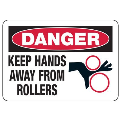 Machine Safety Signs - Keep Hands Away From Rollers