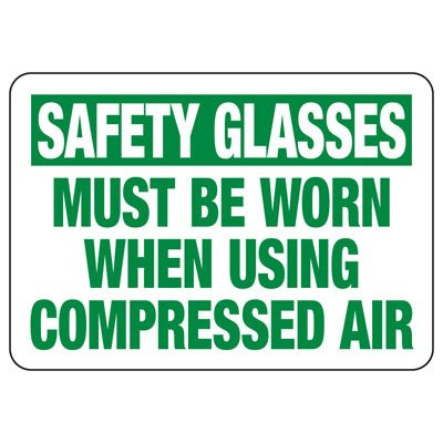 Safety Glasses Must Be Worn - Industrial OSHA Machine Hazard Sign