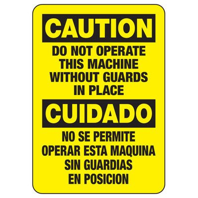 Caution Do Not Operate - Bilingual Industrial OSHA Machine Hazard Sign